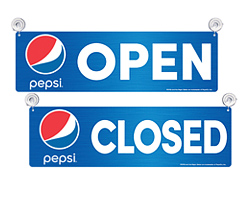 Pepsi Open and Closed Signs