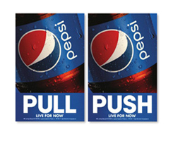 Pepsi Push and Pull Signs