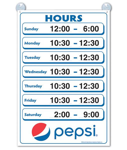 PC8004 – Hours of Operation Sign