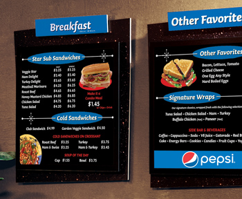 Dimensional Indoor Menu Board