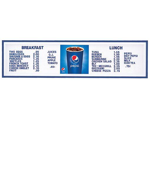 PI1419CUP – Pepsi Track Menu Board, Illuminated w/ Blue Frame