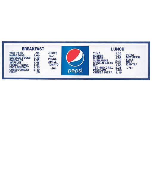 PI1419GLOBE – Pepsi Track Menu Board, Illuminated w/ Blue Frame