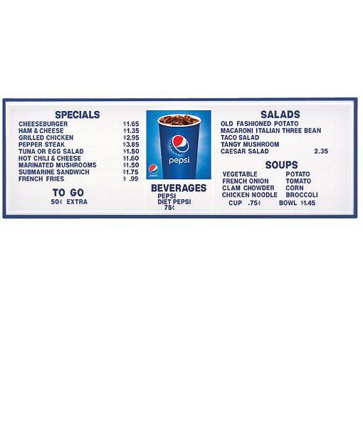 PI1574CUP – Pepsi Cup Track Menu Board, Illuminated w/ Blue Frame