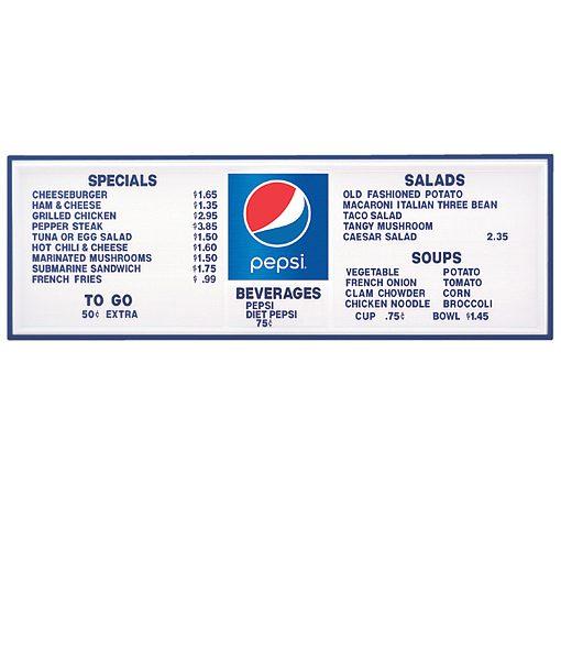 PI1574GLOBE – Pepsi Track Menu Board, Illuminated w/ Blue Frame